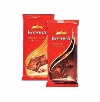 Шоколад білий, чорний, молочний, 90г, Шоколад чорний, молочний, 85г, Корона