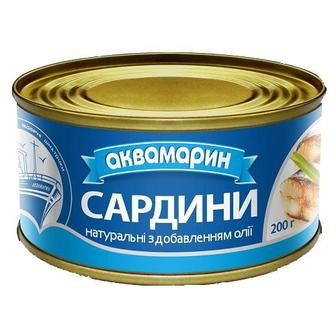 Рибні консерви Аквамарин Сардина 230г