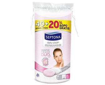 Диски ватні Septona з протеїнами шовку овальні + 20 шт. безкоштовно. 60 шт./уп