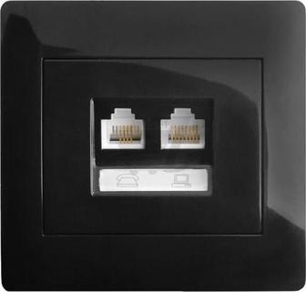 Розетка комп'ютерна + телефонна подвійна LXL Oscar TL1173 чорний 8536699090