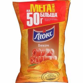 Чіпси Люкс бекон, сир, сметана-цибуля 183г