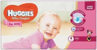 Подгузники Huggies Ultra Comfort Jumbo р.4 (8-14 кг) для девочек 50 шт
