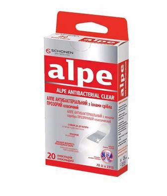 Лейкопластырь Алпе прозрачный антибактериальный с ионами серебра классик (76x19 мм) №20
