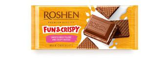 Шоколад молочний з шоколадною начинкою та вафлею Рошен 105г