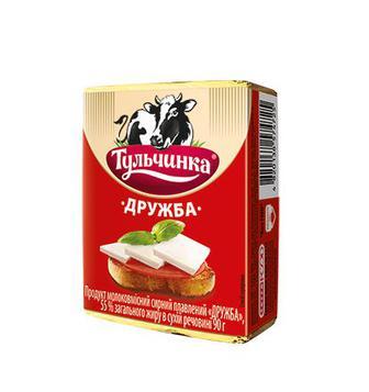 Продукт сирний плавлений Тульчинка Дружба/зі смаком грибів/Вершковий смак 55% 90г
